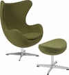 Grass Green Wool Fabric Egg Chair with Tilt-Lock Mechanism and Ottoman [ZB-19-CH-OT-GG]