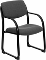 Gray Fabric Executive Side Reception Chair with Sled Base [BT-508-GY-GG]