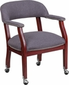 Gray Fabric Luxurious Conference Chair with Silver Trim Nails and Casters [B-Z100-GY-GG]