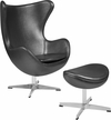 Gray Leather Egg Chair with Tilt-Lock Mechanism and Ottoman [ZB-23-CH-OT-GG]