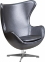 Gray Leather Egg Chair with Tilt-Lock Mechanism [ZB-23-GG]