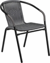 Gray Rattan Indoor-Outdoor Restaurant Stack Chair [TLH-037-GY-GG]
