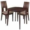 Greenwich 3 Piece Espresso Wood Dining Table Set with Curved Slat Keyhole Back Wood Dining Chairs - Padded Seats [ES-60-GG]
