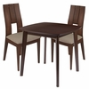 Greenwich 3 Piece Walnut Wood Dining Table Set with Curved Slat Keyhole Back Wood Dining Chairs - Padded Seats [ES-74-GG]
