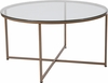 Greenwich Collection Glass Coffee Table with Matte Gold Frame [NAN-JH-1786CT-GG]