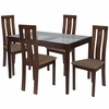 Gridley 5 Piece Espresso Wood Dining Table Set with Glass Top and Vertical Wide Slat Back Wood Dining Chairs - Padded Seats [ES-96-GG]