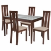 Gridley 5 Piece Walnut Wood Dining Table Set with Glass Top and Vertical Wide Slat Back Wood Dining Chairs - Padded Seats [ES-110-GG]