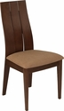 Hadley Walnut Finish Wood Dining Chair with Wide Slat Back and Brown Fabric Seat [ES-CB-3902YBH-W-BRN-GG]