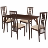 Halstead 5 Piece Espresso Wood Dining Table Set with High Triple Window Pane Back Wood Dining Chairs - Padded Seats [ES-11-GG]