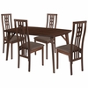 Halstead 5 Piece Walnut Wood Dining Table Set with High Triple Window Pane Back Wood Dining Chairs - Padded Seats [ES-25-GG]