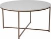 Hampstead Collection White Coffee Table with Matte Gold Frame [NAN-JH-1787CT-GG]
