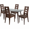 Hanford 5 Piece Espresso Wood Dining Table Set with Glass Top and Window Pane Back Wood Dining Chairs - Padded Seats [ES-142-GG]