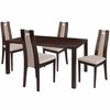 Harlesden 5 Piece Espresso Wood Dining Table Set with Curved Slat Wood Dining Chairs - Padded Seats [ES-38-GG]