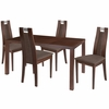 Harlesden 5 Piece Walnut Wood Dining Table Set with Curved Slat Wood Dining Chairs - Padded Seats [ES-52-GG]