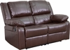 Harmony Series Brown Leather Loveseat with Two Built-In Recliners [BT-70597-LS-BN-GG]