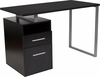 Harwood Dark Ash Wood Grain Finish Desk with Two Drawers and Steel Frame [NAN-JN-2634-G-GG]