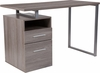 Harwood Light Ash Wood Grain Finish Computer Desk with Two Drawers and Silver Metal Frame [NAN-JN-2634-GG]