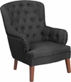 HERCULES Arkley Series Black Fabric Tufted Arm Chair [QY-B60-BK-GG]