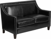 HERCULES Compass Series Transitional Black Leather Loveseat with Walnut Legs [CH-US-173030-2-BK-GG]