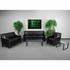 HERCULES Compass Series Transitional Black Leather Set with Walnut Legs [CH-US-173030-SET-BK-GG]