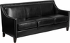 HERCULES Compass Series Transitional Black Leather Sofa with Walnut Legs [CH-US-173030-3-BK-GG]