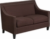 HERCULES Compass Series Transitional Brown Fabric Loveseat with Walnut Legs [CH-US-173030-2-BN-GG]