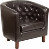 HERCULES Cranford Series Brown Leather Tufted Barrel Chair [QY-B16-HY-9030-4-BN-GG]