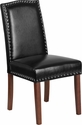 HERCULES Hampton Hill Series Black Leather Parsons Chair with Silver Nail Heads [QY-A13-9349-BK-GG]