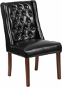 HERCULES Preston Series Black Leather Tufted Parsons Chair [QY-A91-BK-GG]