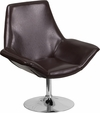 HERCULES Sabrina Series Brown Leather Side Reception Chair [CH-102242-BRN-GG]