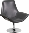 HERCULES Sabrina Series Gray Leather Side Reception Chair [CH-102242-GY-GG]