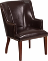 HERCULES Sculpted Comfort Series Brown Leather Side Reception Chair [CH-162930-BN-GG]