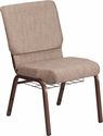 HERCULES Series 18.5''W Church Chair in Beige Fabric with Book Rack - Copper Vein Frame [FD-CH02185-CV-BGE1-BAS-GG]
