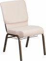HERCULES Series 18.5''W Church Chair in Beige Fabric with Cup Book Rack - Gold Vein Frame [FD-CH02185-GV-B2-BAS-GG]