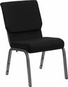 HERCULES Series 18.5''W Stacking Church Chair in Black Fabric - Silver Vein Frame [XU-CH-60096-BK-SV-GG]