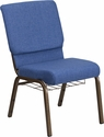 HERCULES Series 18.5''W Church Chair in Blue Fabric with Cup Book Rack - Gold Vein Frame [FD-CH02185-GV-BLUE-BAS-GG]
