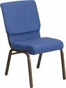 HERCULES Series 18.5''W Stacking Church Chair in Blue Fabric - Gold Vein Frame [FD-CH02185-GV-BLUE-GG]