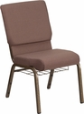 HERCULES Series 18.5''W Church Chair in Brown Dot Fabric with Book Rack - Gold Vein Frame [FD-CH02185-GV-BNDOT-BAS-GG]