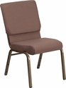 HERCULES Series 18.5''W Stacking Church Chair in Brown Dot Fabric - Gold Vein Frame [FD-CH02185-GV-BNDOT-GG]