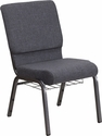 HERCULES Series 18.5''W Church Chair in Dark Gray Fabric with Book Rack - Silver Vein Frame [FD-CH02185-SV-DKGY-BAS-GG]