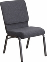 HERCULES Series 18.5''W Stacking Church Chair in Dark Gray Fabric - Silver Vein Frame [FD-CH02185-SV-DKGY-GG]