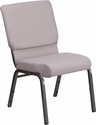 HERCULES Series 18.5''W Stacking Church Chair in Gray Dot Fabric - Silver Vein Frame [FD-CH02185-SV-GYDOT-GG]