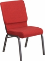 HERCULES Series 18.5''W Stacking Church Chair in Red Fabric - Silver Vein Frame [FD-CH02185-SV-RED-GG]