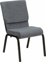 HERCULES Series 18.5''W Stacking Church Chair in Gray Fabric - Gold Vein Frame [XU-CH-60096-BEIJING-GY-GG]