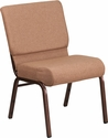 HERCULES Series 21''W Stacking Church Chair in Caramel Fabric - Copper Vein Frame [FD-CH0221-4-CV-BN-GG]