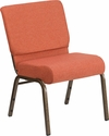 HERCULES Series 21''W Stacking Church Chair in Cinnamon Fabric - Gold Vein Frame [FD-CH0221-4-GV-CIN-GG]