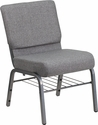 HERCULES Series 21''W Church Chair in Gray Fabric with Book Rack - Silver Vein Frame [XU-CH0221-GY-SV-BAS-GG]