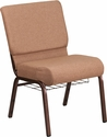HERCULES Series 21''W Church Chair in Caramel Fabric with Cup Book Rack - Copper Vein Frame [FD-CH0221-4-CV-BN-BAS-GG]