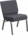 HERCULES Series 21''W Church Chair in Dark Gray Fabric - Silver Vein Frame [FD-CH0221-4-SV-DKGY-GG]