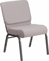 HERCULES Series 21''W Church Chair in Gray Dot Fabric - Silver Vein Frame [FD-CH0221-4-SV-GYDOT-GG]